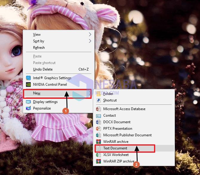 buka notepad melalui konteks menu