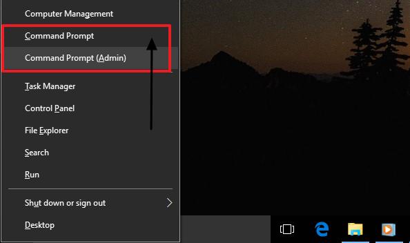 cara membuka command prompt melalui win+x
