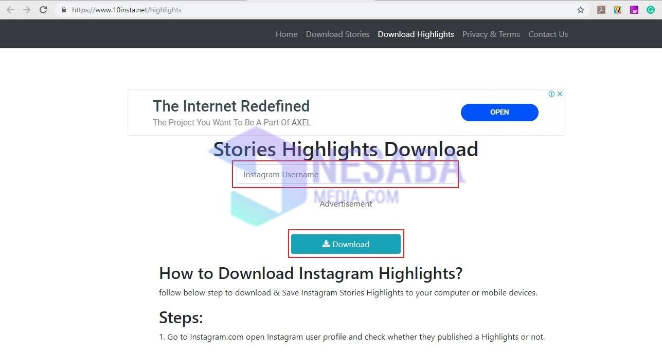 Cara download highlight instagram lewat laptop