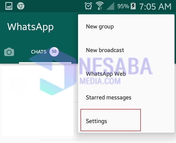 Menu settings whatsapp