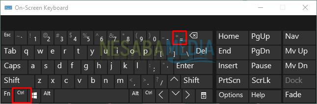memperbesar browser dengan tanda tambah