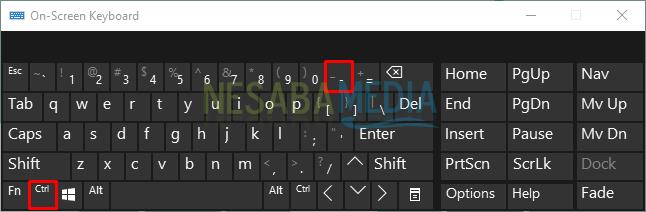 cara mengecilkan tampilan layar komputer dengan on-screen keyboard