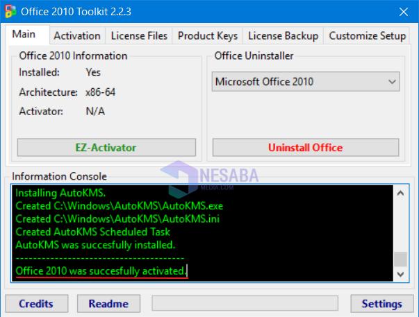 cara aktivasi Microsoft Office 2010 sudah berhasil