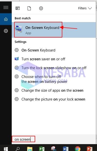 keyboard on screen