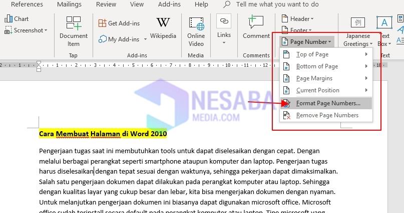 format page num