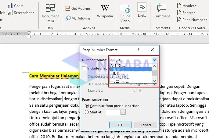 How to Create a Page in Word 2010 with Roman Numerals