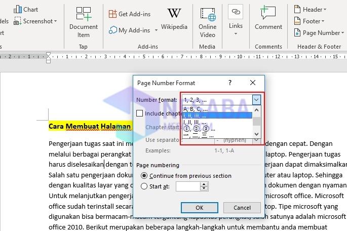 Cara Membuat Halaman di Word 2010 dengan Angka Romawi
