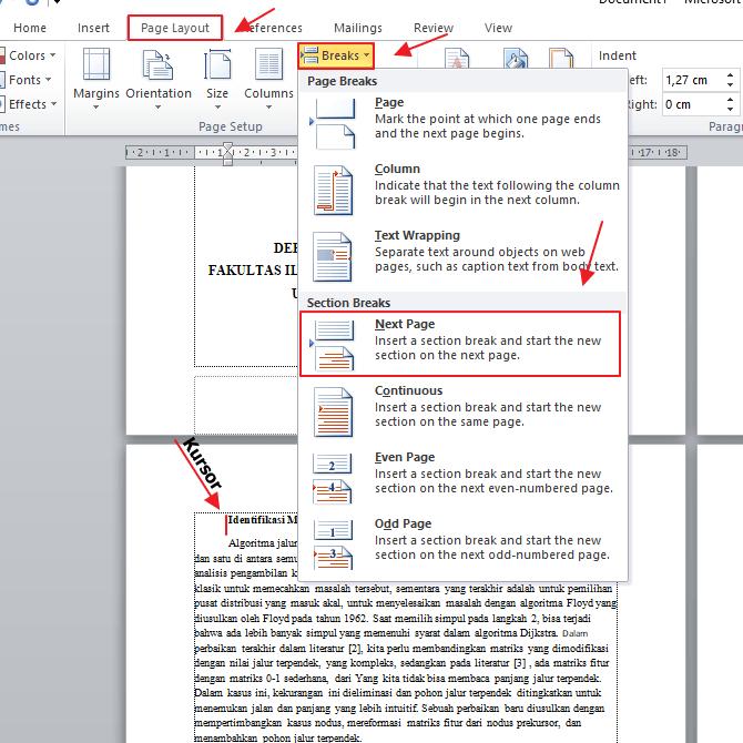 Tutorial Cara Membuat Section Break
