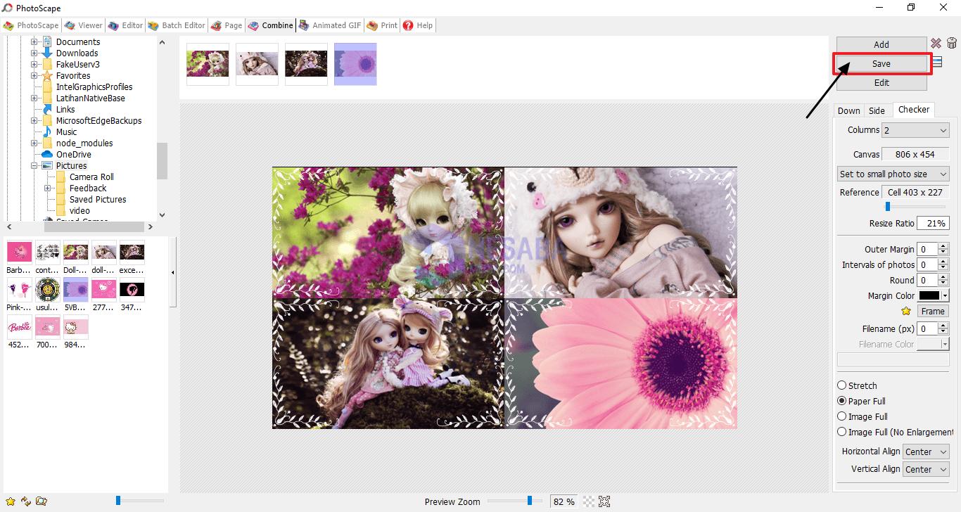 klik save untuk menyimpan foto