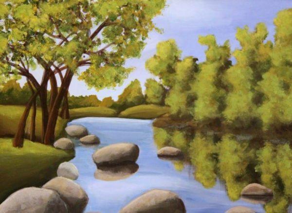 Pemandangan danau dengan pepohonan