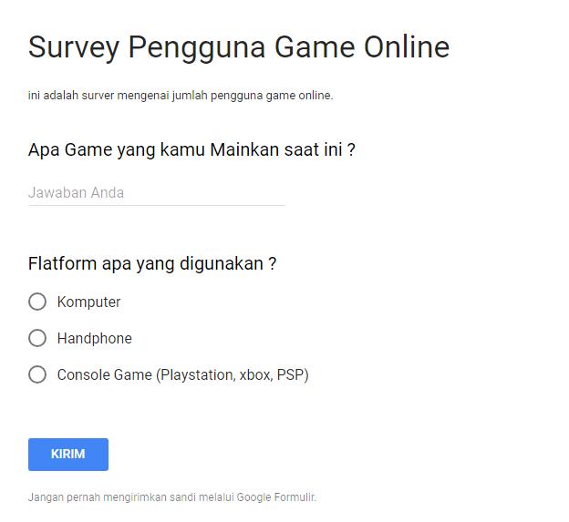 Contoh Kuesioner Online Form/ Google Form