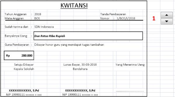 Contoh Kwitansi Honor