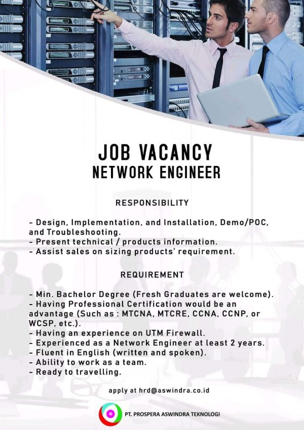 Contoh Job Vacancy untuk Network Engineer