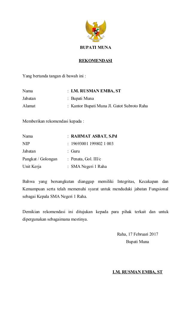 Contoh Surat Rekomendasi Jabatan