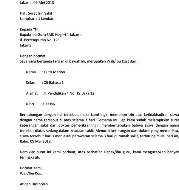 Contoh Surat Izin Tidak Masuk Sekolah Ditandatangani Oleh Sakit-Bapak/Ibu Kost/Wali