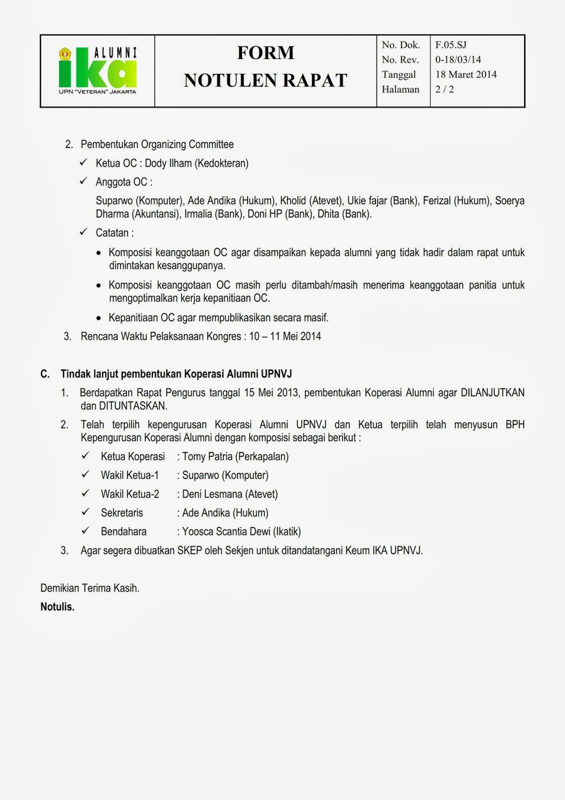 Notulen Rapat Organisasi