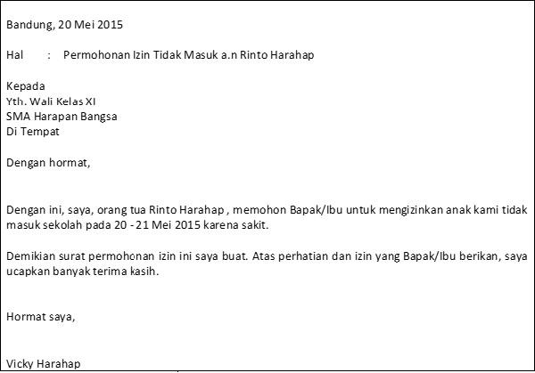 Contoh Surat Izin Sekolah Untuk Smp