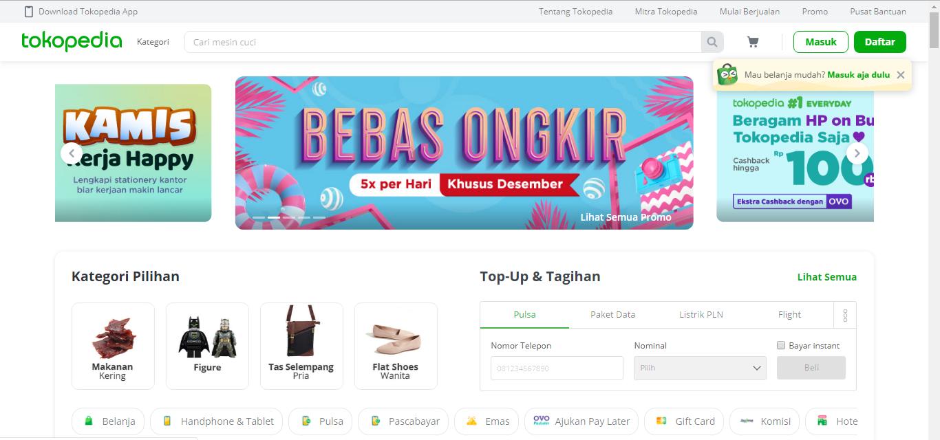 homepage Tokopedia