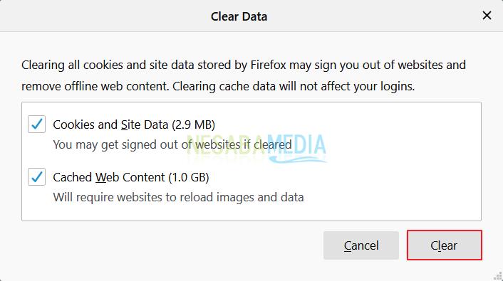 Cara Menghapus Cache di Windows 10 - Firefox 5
