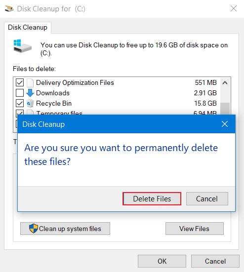 tinggal pilih Delete Files
