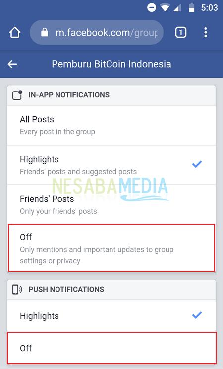 Cara Menonaktifkan Semua Notifikasi Grup Facebook