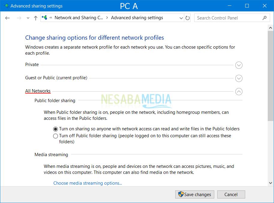 Setting PC A 2
