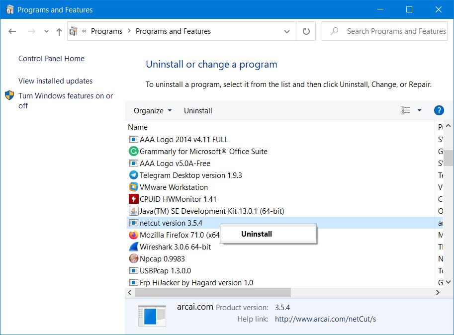 cara mengatasi Windows Firewall has block some features of this program dengan uninstall program