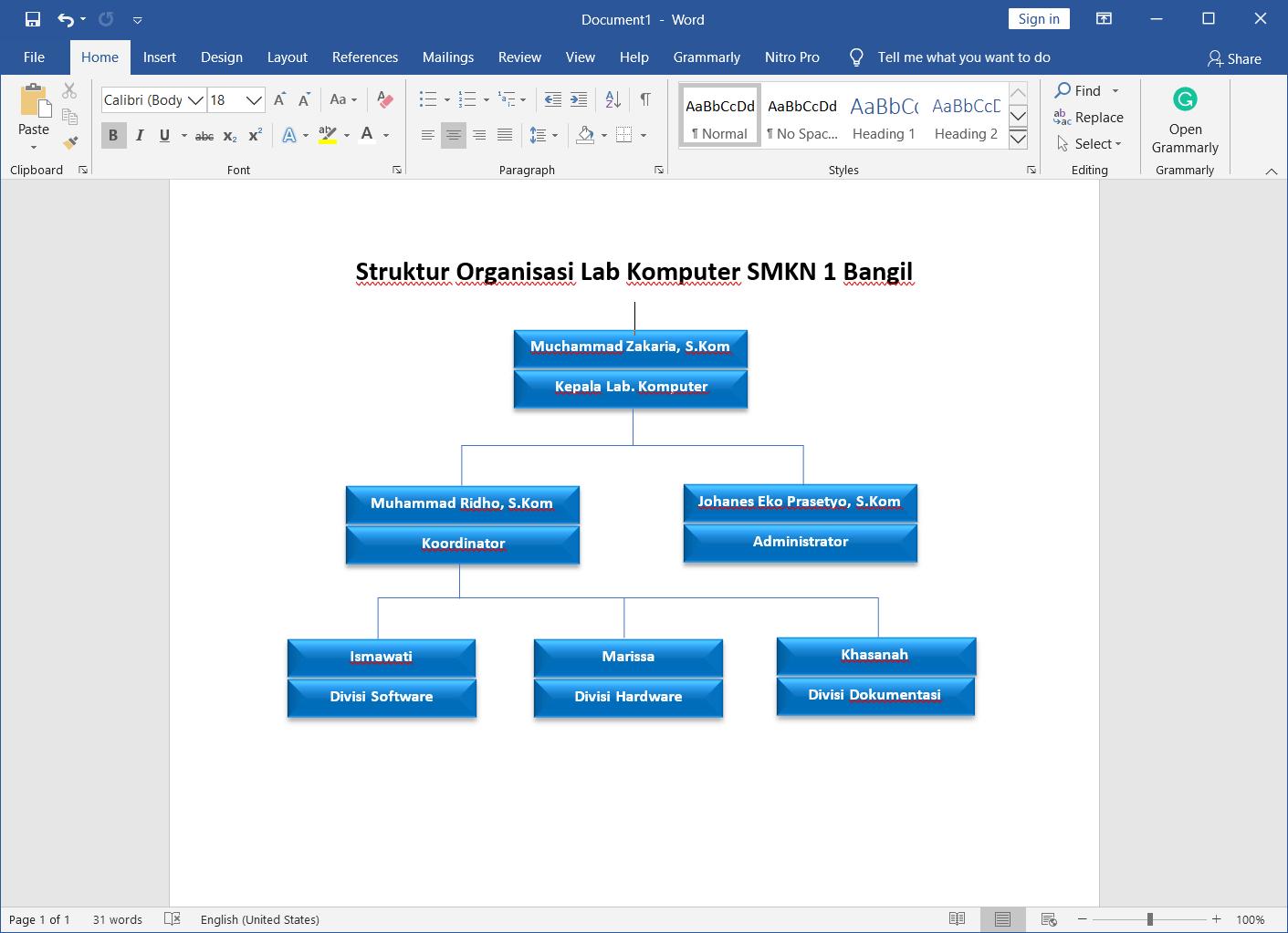 cara membuat struktur organisasi di microsoft word 2019