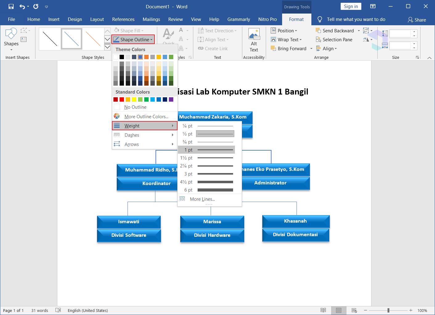 Membuat Struktur Organisasi di Word 11