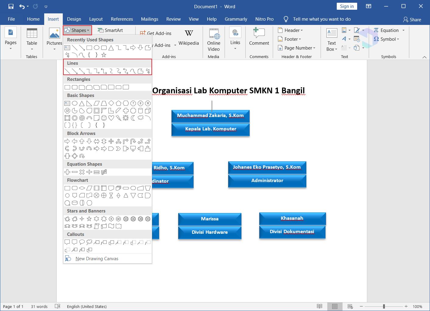Membuat Struktur Organisasi di Word 9