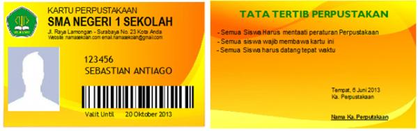 Contoh ID Card untuk Perpustakaan