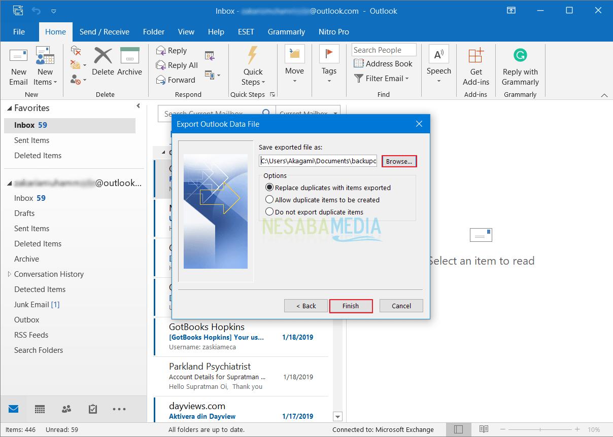 Cara Backup Email di Outlook 10