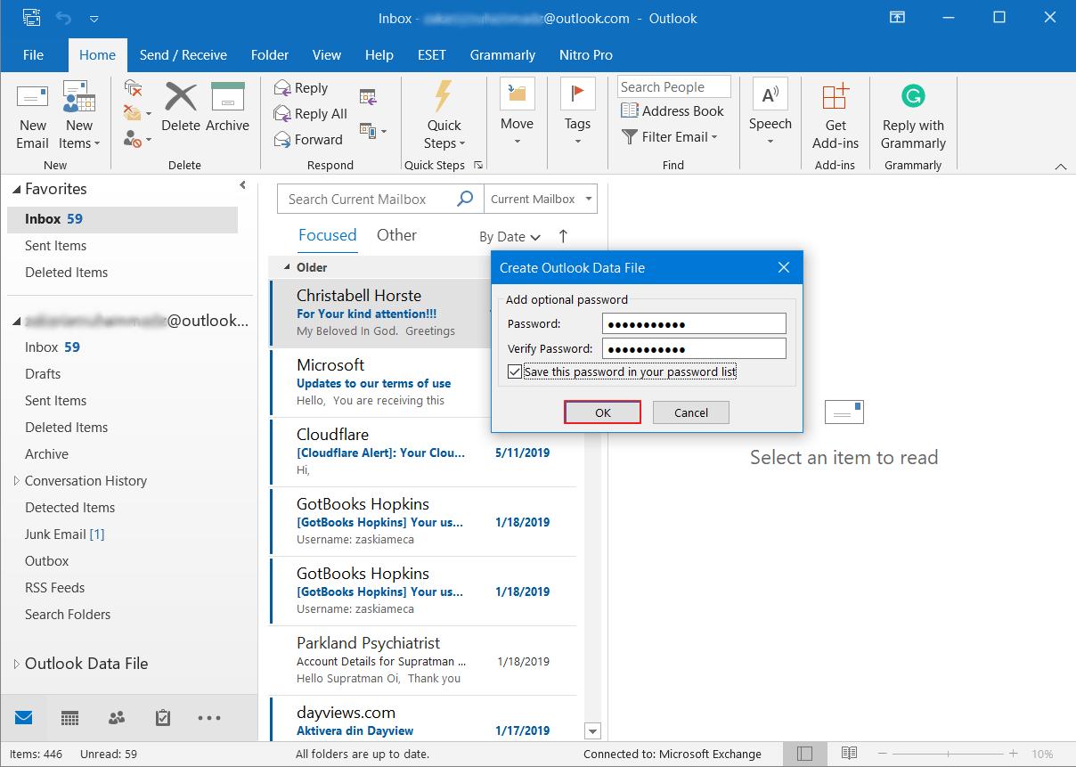 Cara Backup Email di Outlook 11