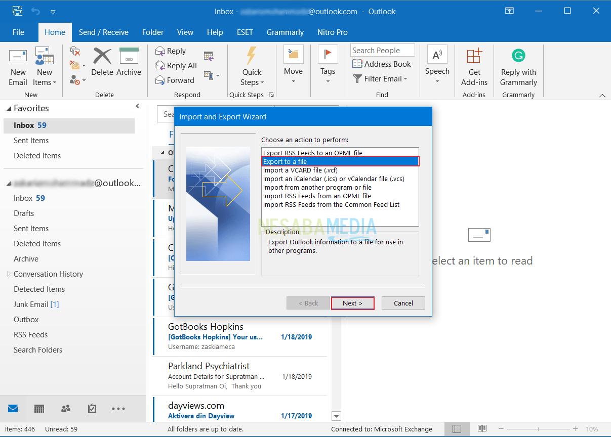 Cara Backup Email di Outlook 7