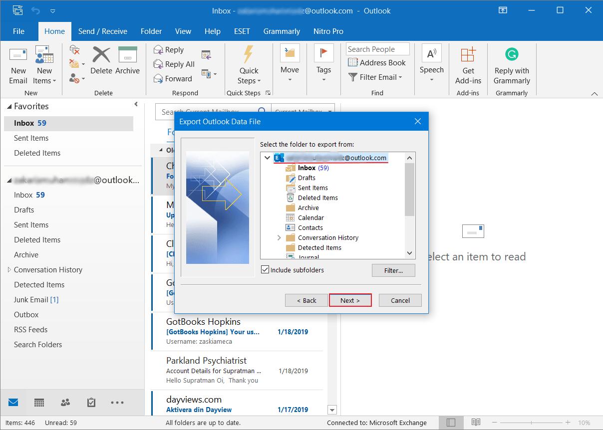 Cara Backup Email di Outlook 9