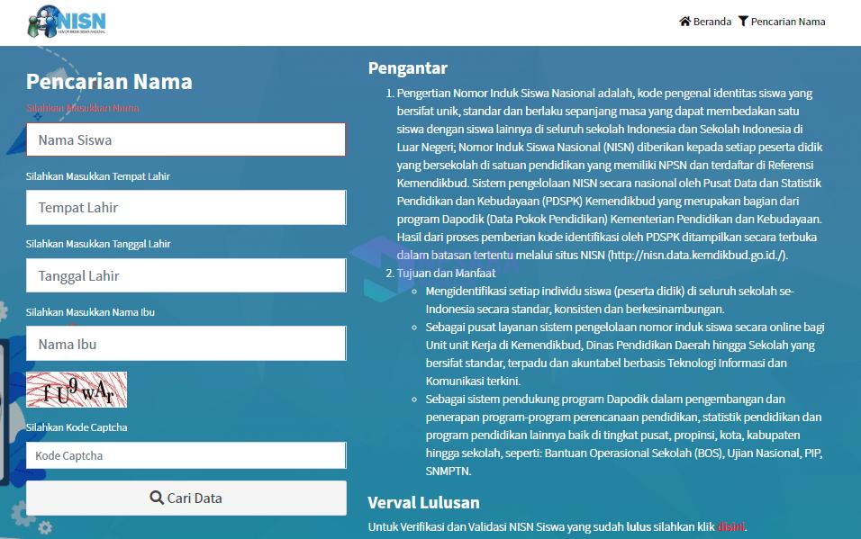 cara mengetahui NISN secara online