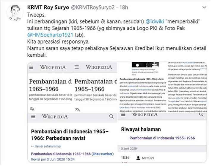 Roy Suryo Boikot Wikipedia