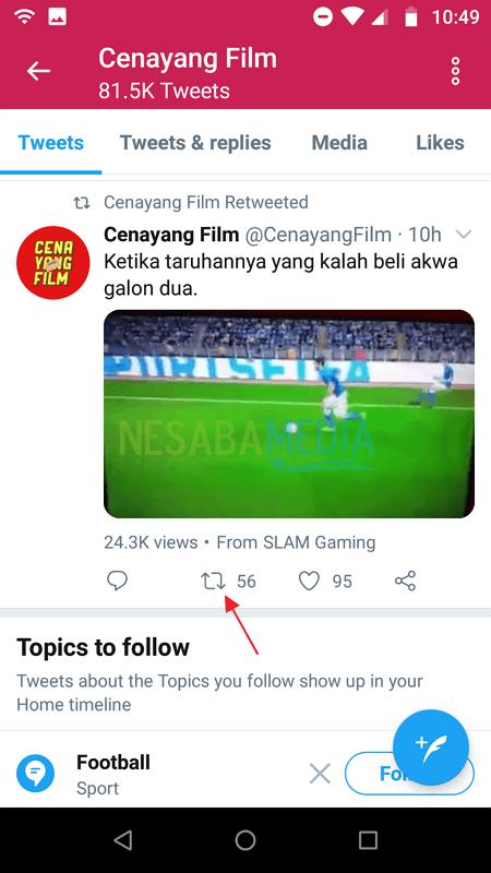 cara repost video di Twitter