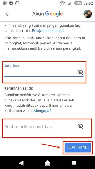Cara Mengganti Password Gmail di Android Terbaru